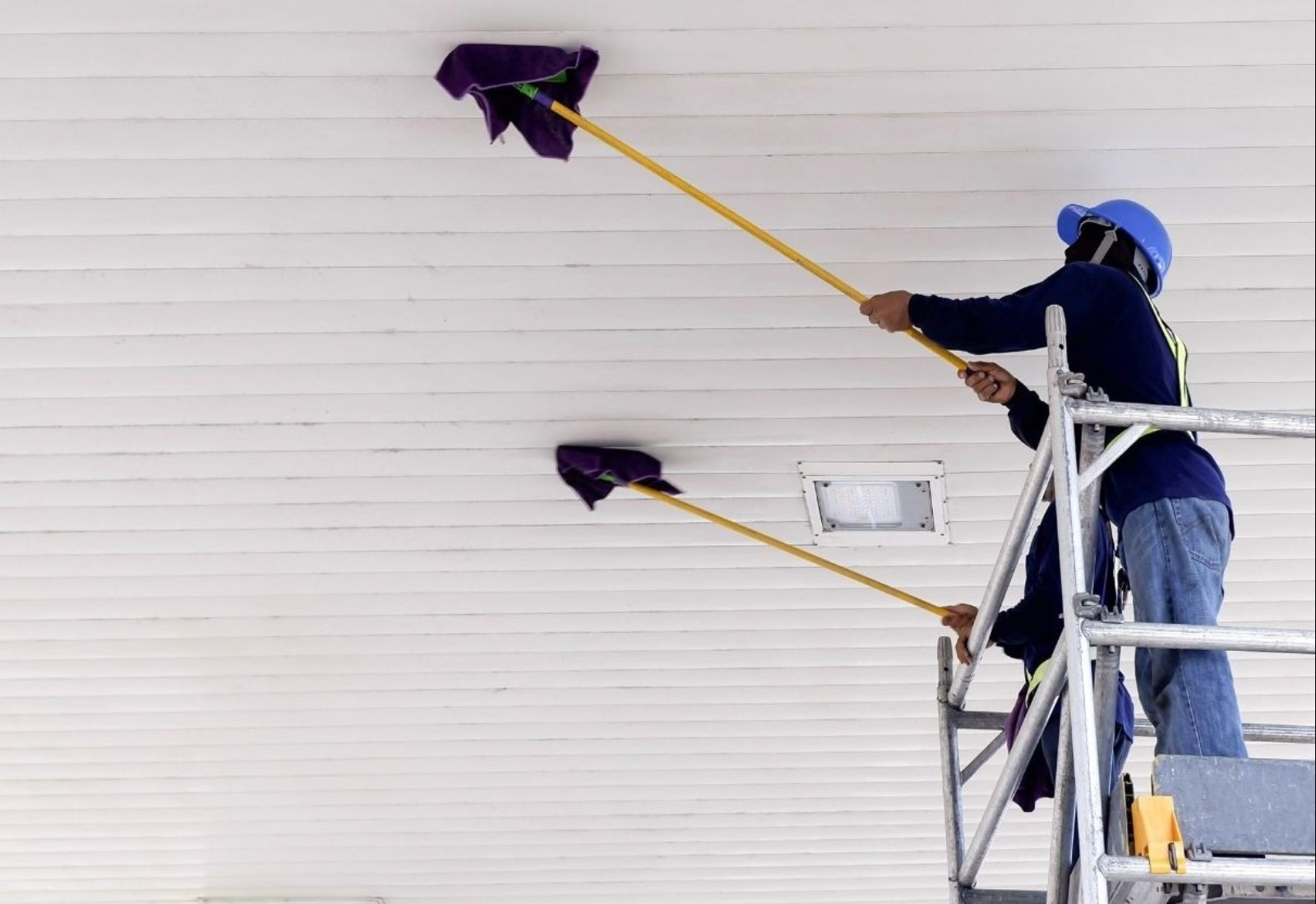 Commercial cleaning walls and ceiling mold reach