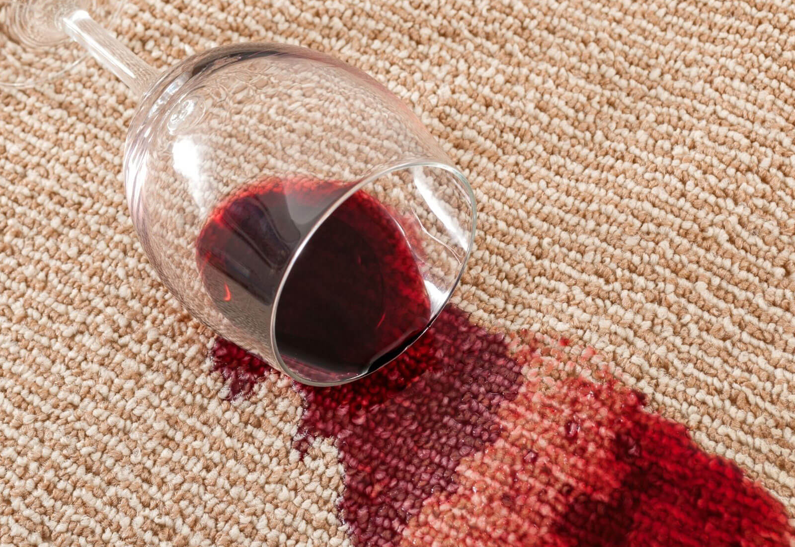 Red Wine spillage on the carpet
